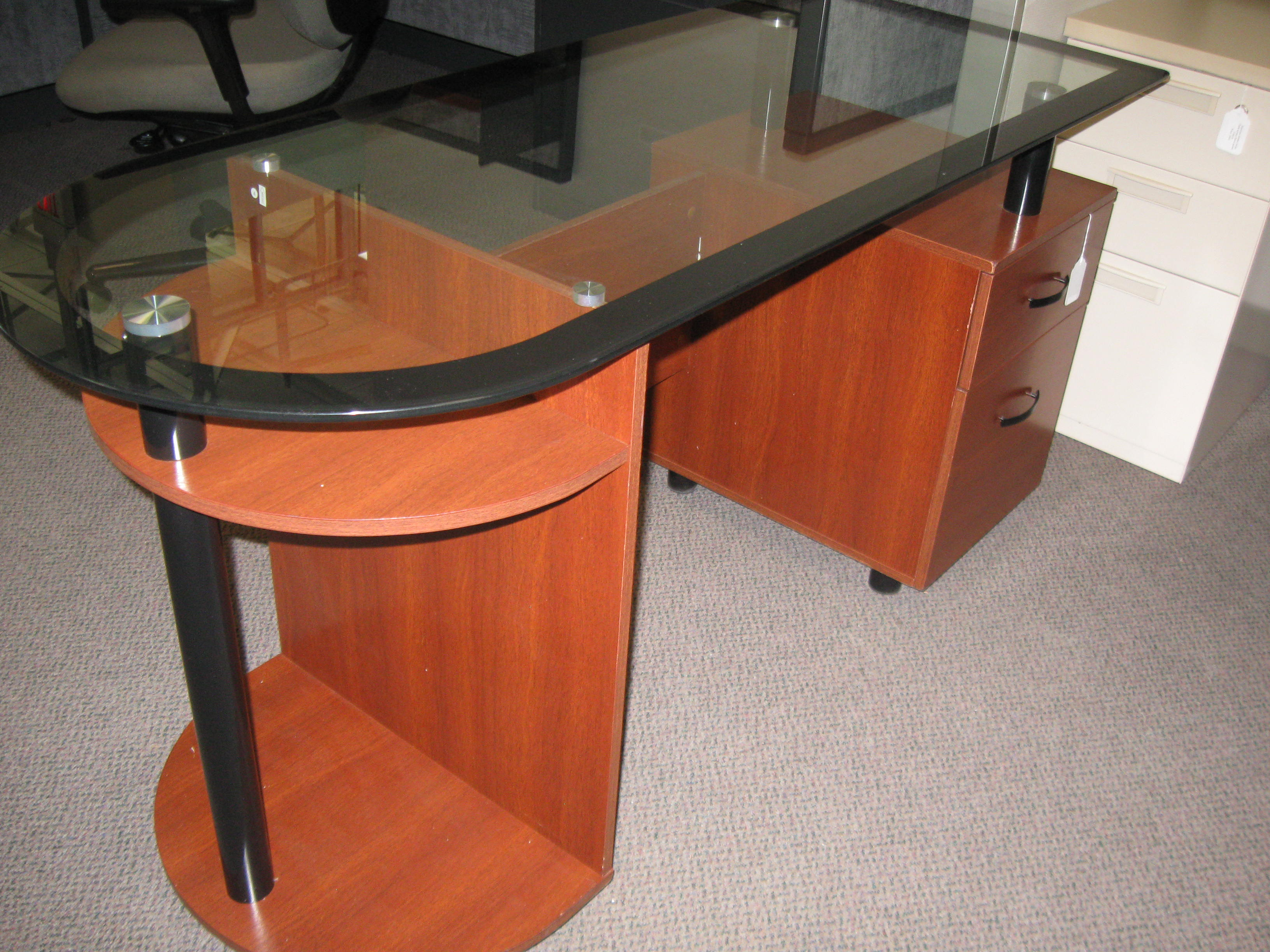 glass home office desks solid wood glass home office desk previousnext preowned desk boss products