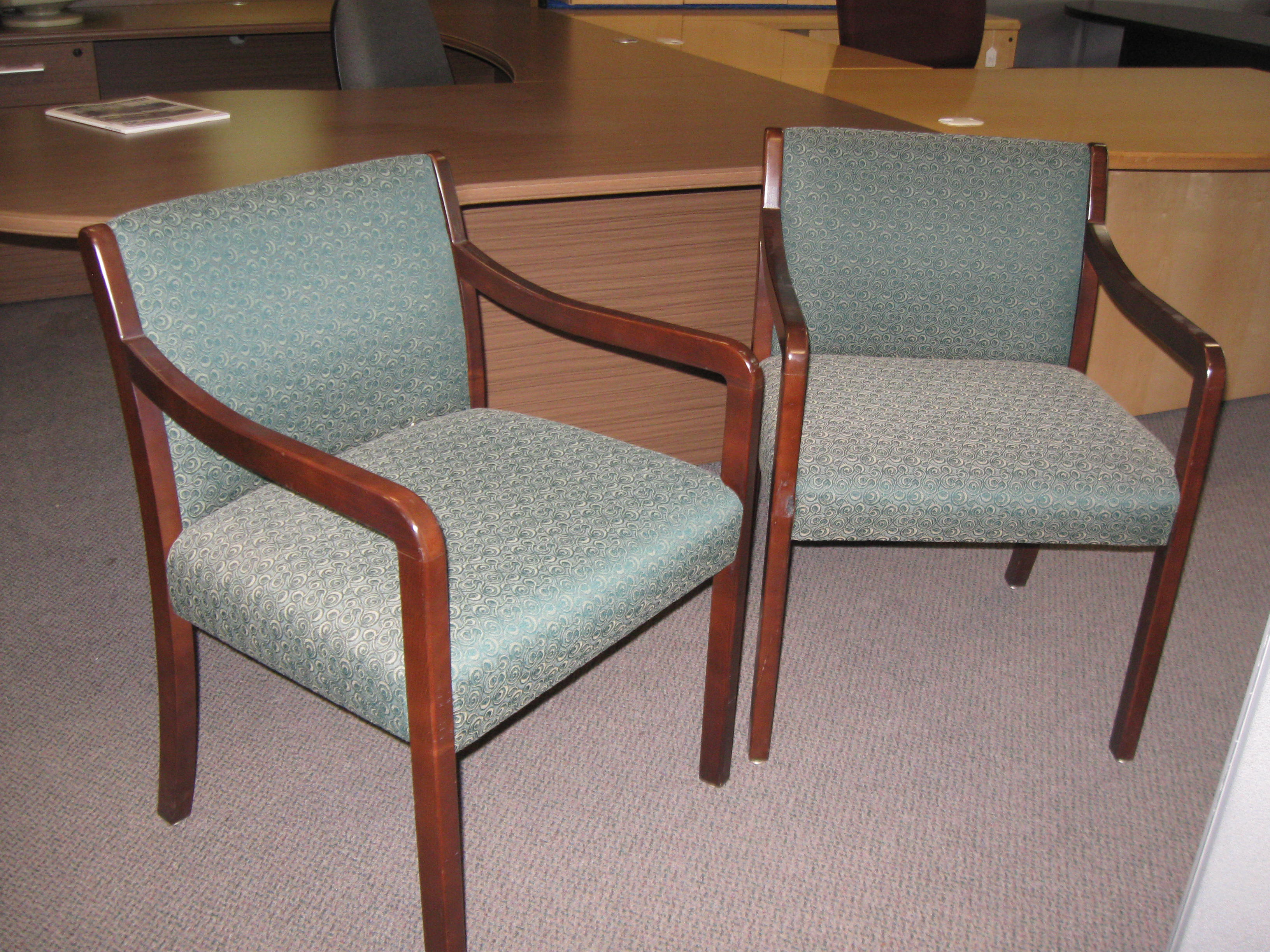 Pre-owned Wood Frame Guest Chair – Green Swirl – Boss Office Products