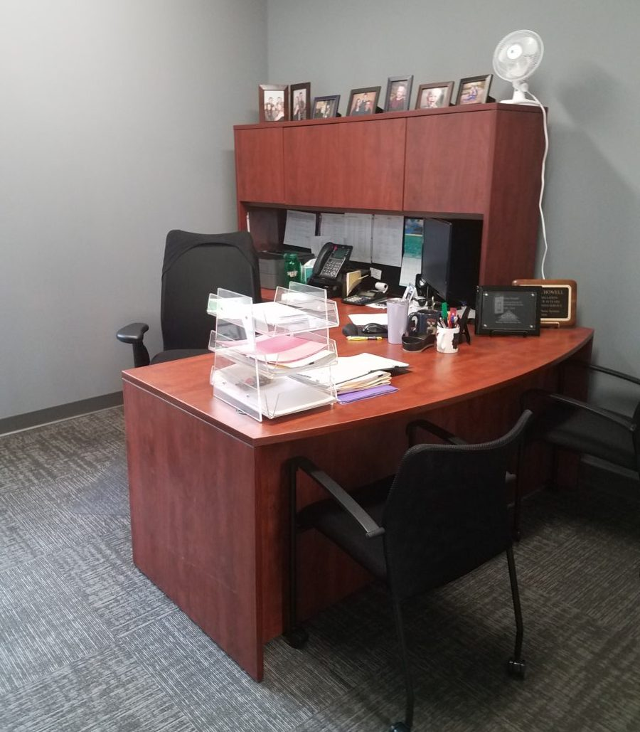 Private office desk installation
